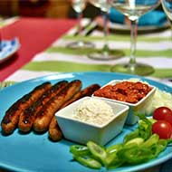 pork sausages with Ajvar