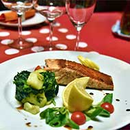 grilled salmon with potato and spinach