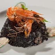 black risotto, seafood