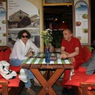 Balkan musician Goran Bregović with restaurant owner Veso Djorem