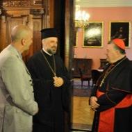 cardinal Dominik Duka and Vladika Grigorije, professor Jaroslav Šuvarský and restaurant owner Veso Djorem